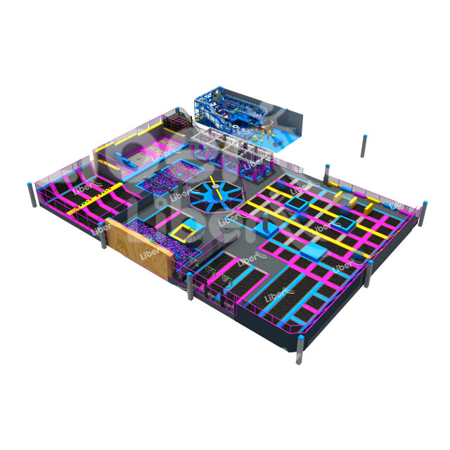 Popular Theme Park Large Indoor Trampoline With Playground Slide